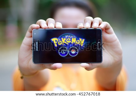 KUANTAN PAHANG, MALAYSIA - JULY 15TH, 2016 : Pokemon Go app, a free-to-play augmented reality mobile game developed by Niantic for iOS and Android devices. - stock photo