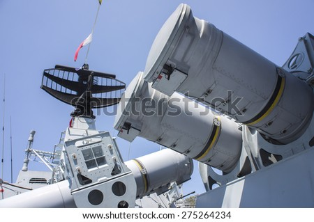KUANTAN, PAHANG, MALAYSIA - MAY 02 2015: Missile launcher on KD Lekiu battle ship for display in conjunction with 81st Army Day at the base of the Royal Malaysia Navy Tanjung Gelang, Kuantan