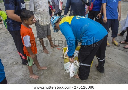 KUANTAN, PAHANG, MALAYSIA - MAY 03 2015: Unidentified local fisherman collecting Diamond Trevally (Alectics Indica) and put in the basket to sell at the Black Stone wet market during school holidays.