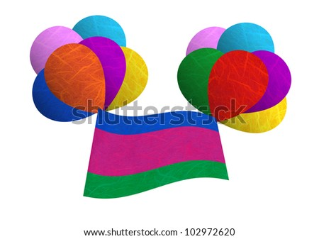 Kuban Peoples Republic flag balloon on the wind. Mulberry paper on white background. - stock photo