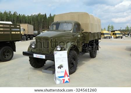 KUBINKA, MOSCOW OBLAST, RUSSIA - JUN 15, 2015: International military-technical forum ARMY-2015 in military-Patriotic park. Retro car GAZ-63 truck for military purposes 1963 edition - stock photo