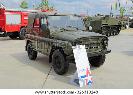 KUBINKA, MOSCOW OBLAST, RUSSIA - JUN 15, 2015: International military-technical forum ARMY-2015 in military-Patriotic park. The all-wheel drive command car UAZ-3151