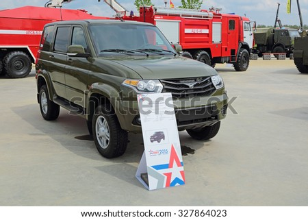 KUBINKA, MOSCOW OBLAST, RUSSIA- JUN 15, 2015: International military-technical forum ARMY-2015 in military-Patriotic park. The UAZ-3163 Patriot is a mid-size SUV from the UAZ division of SeverstalAvto
