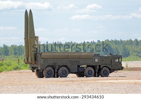 KUBINKA, MOSCOW OBLAST, RUSSIA - JUN 18, 2015: The russian mobile theater ballistic missile system 9K720 Iskander (SS-26 Stone) at the International military-technical forum ARMY-2015 - stock photo