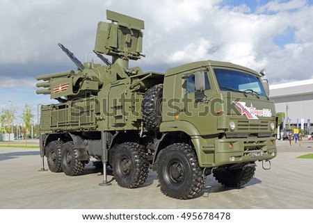 KUBINKA, MOSCOW OBLAST, RUSSIA - SEP 06, 2016: International military-technical forum ARMY-2016. Pantsir-S1 (SA-22 Greyhound) is a combined surface-to-air missile and anti-aircraft artillery