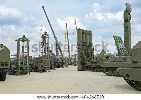 KUBINKA, MOSCOW REGION, RUSSIA - JUN 15, 2015: International military-technical forum ARMY-2015 in military-Patriotic park. The outdoor exhibition, samples of military equipment - stock photo