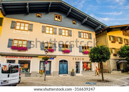 KUCHL, AUSTRIA - JULY 4, 2015: Architecture of the small town of Kuchl in Austria. Kuchl is a small market town in the Hallein district of Salzburg