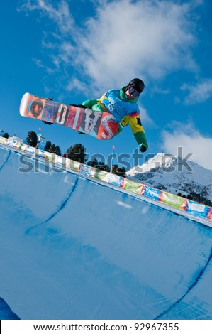 KUEHTAI, AUSTRIA - JANUARY 14: Manex Azula from Spain in action at YOG 2012, Youth Olympic Games Innsbruck 2012, SNOWBOARD Halfpipe in Kuehtai, Austria on January 14, 2012.