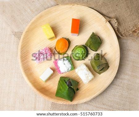 kuih plate malay jute nyonya assorted palm desert leaf mix traditional sweet muih shutterstock vectors royalty