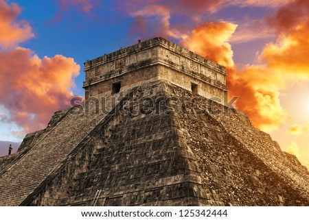 Kukulkan Pyramid in Chichen Itza Site, Mexico - stock photo