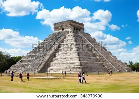 Kukulkan Pyramid in Chichen Itza Site, Mexico - stock photo