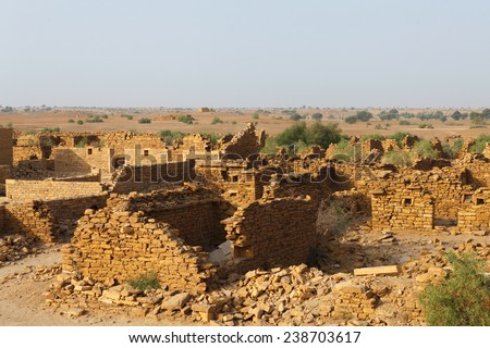 Kuldhara ,abandoned city and it's ruins in Jaisalmer,Rajasthan,India.