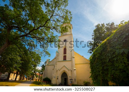 KULDIGA, LATVIA - AUGUST 27, 2014: old church at old historic town of Kuldiga
