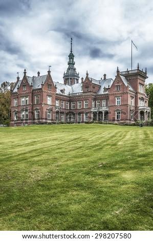 Kulla Gunnarstorp slott is a castle in Helsingborg Municipality, Scania, in southern Sweden. - stock photo