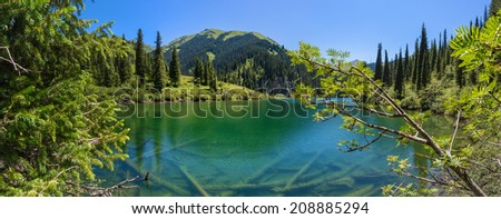 Kulsai mountain lake panorama - stock photo