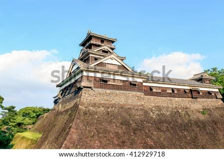 Kumamoto Castle Guard Tower and Stone Wall - Japan - stock photo