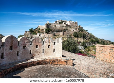 Kumbhalgarh fort, Rajasthan, India.  Kumbhalgarh is a Mewar fortress in the Rajsamand District of Rajasthan state in western India and is known world wide for its great history. - stock photo