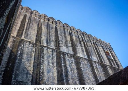 Kumbhalgarh palace, in Rajasthan is considered as most strategic place against foreign attacks. This photo is one of the wall to protect the King's residence. It is located in Rajasthan, India