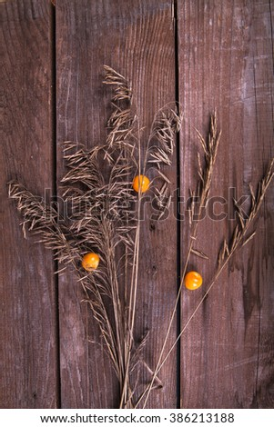 kumquat and wild herbs on a wooden background