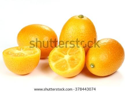 kumquats isolated on white background - stock photo