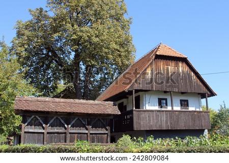 KUMROVEC, CROATIA - MAY 17, 2013: Idyllic village scene in Croatian countryside. Kumrovec historical village, Zagorje area of Croatia. Motherland of Josip Broz Tito, 1st President of Yugoslavia - stock photo