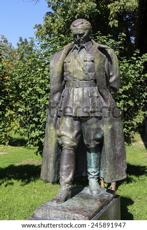 KUMROVEC, CROATIA - SEPTEMBER 24: The statue of former Yugoslav President Josip Broz Tito in front of his native house in Kumrovac, Croatia on September 24, 2013.