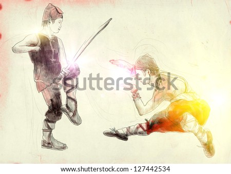 Kung Fu, Chinese martial art. /// A hand drawn illustration of Chinese martial arts, popularly referred to as kung fu.  /// Post - processing: Sunrise light. - stock photo