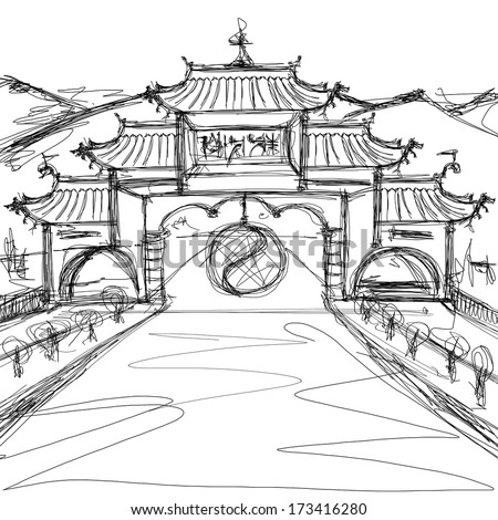 Kung Fu Concept. Sketch background with china - stock photo