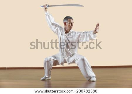 Kung Fu, Daoshu, Mabu jia dao, Man holding sword - stock photo