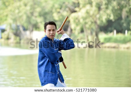 Kung fu man prepare for a fighting