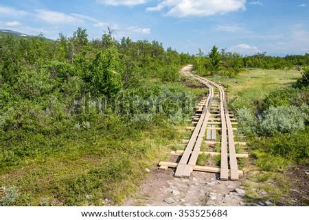 Kungleden Hiking Trail in the Abisko National Park - stock photo
