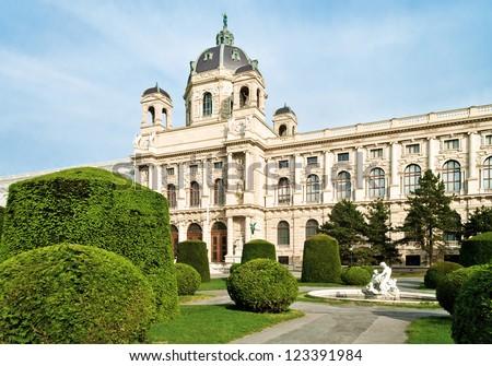 Kunsthistorisches (Fine Art) Museum, pretty garden and sculpture in Vienna, Austria. - stock photo