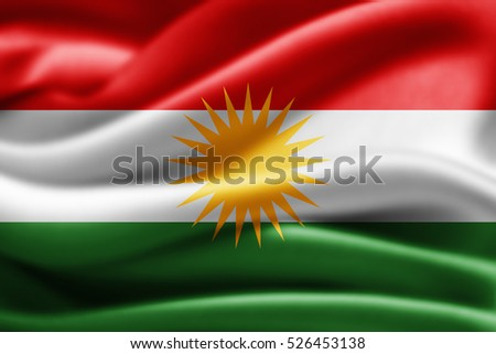 Kurdistan flag of silk-3D illustration