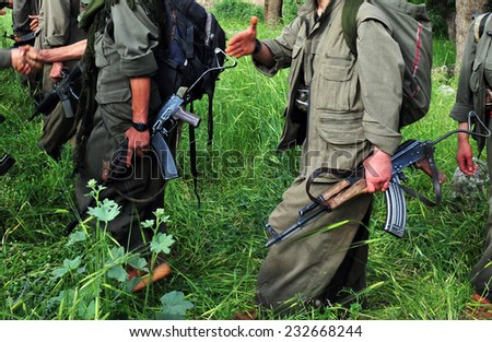 KURDISTAN, IRAQ -  MAY 15:  Militants in the Qandil Mountains, PKK (The Kurdistan Workers Party)  militants on May 15, 2013 in Kurdistan, Qandil, Iraq.