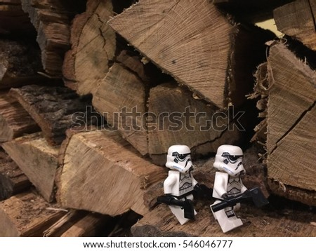 Kurokawa, Japan: 22 Mar 2016 -  Lego Stormtrooper working as lumberjack. This mini figure is from Star Wars sets. Lego is a brick brand by Lego group.
