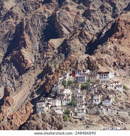 Kursha monastery panorama at Zanskar (India) - stock photo