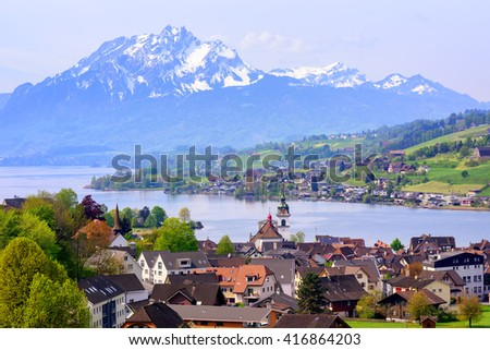 Kussnacht am Rigi old town with Pilatus mountain and Lake Lucerne in background, Switzerland