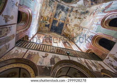 KUTAISI-GELATI, GEORGIA - JULY 24, 2015: Interior of Gelati Monastery complex near Kutaisi, It contains the Church of the Virgin founded by the King of Georgia David the Builder in 1106. - stock photo