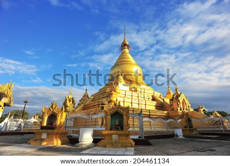 Kuthodaw Pagoda in Mandalay, Myanmar - stock photo