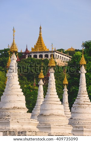 Kuthodaw Pagoda temple  in Mandalay which is home to the world's largest book - stock photo