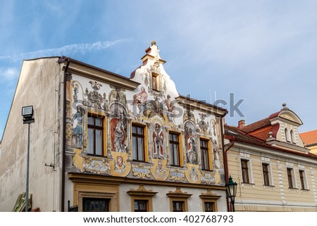 KUTNA HORA, CZECH REPUBLIC - DECEMBER 28, 2015 : Close up view of historical baroque building in Kutna Hora, on cloudy blue sky backgorund.