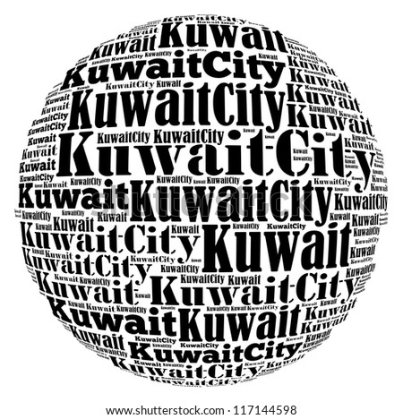 Kuwait City capital city of Kuwait info-text graphics and arrangement concept on white background (word cloud) - stock photo