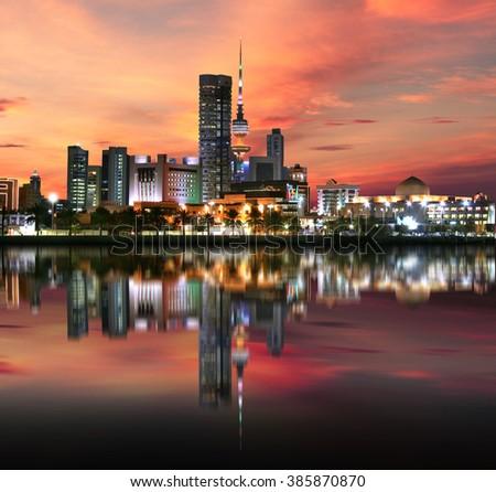 Kuwait city light during sunset  - stock photo
