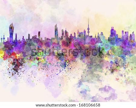 Kuwait City skyline in watercolor background - stock photo