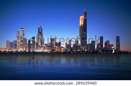 Kuwait Cityscape , blue hour time - stock photo