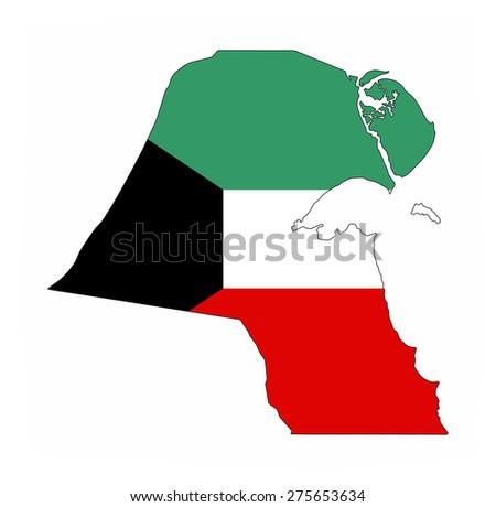 kuwait country flag map shape national symbol - stock photo