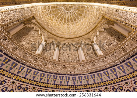 KUWAIT - DEC 10: Interior of the Grand Mosque in Kuwait City. December 10, 2014 in Kuwait, Middle East - stock photo