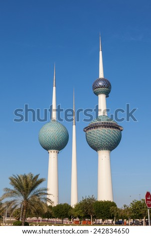 KUWAIT - DEC 8: The Kuwait Towers - the best known landmark of Kuwait City. December 8, 2014 in Kuwait, Middle East - stock photo