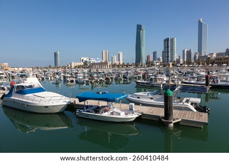 KUWAIT - DEC 7: Yachts and boats at the Sharq Marina in Kuwait. December 7, 2014 in Kuwait City, Middle East