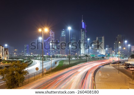 Kuwait downtown at ngiht. Kuwiat City, Middle East - stock photo